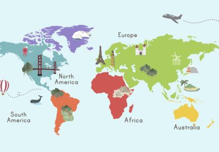 Illustration of world map isolated